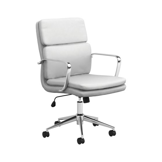 Adjustable height office chair in white / chrome