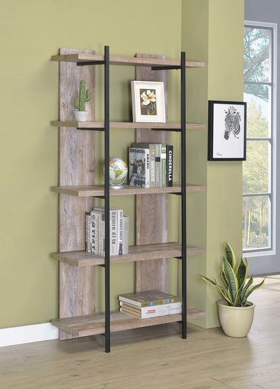 Rustic weathered oak bookcase