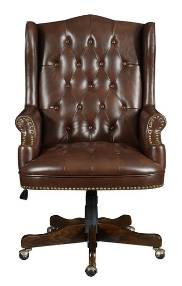Executive tufted office chair in brown leatherette