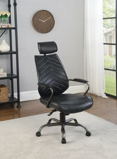 Office chair in black top grain leather