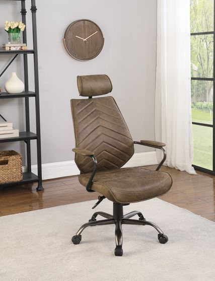 Office chair in top grain brown leather