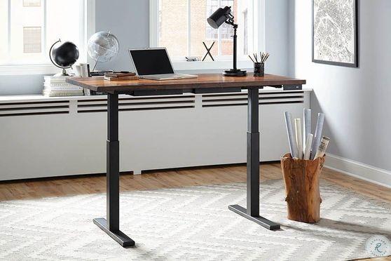 Power adjustable height desk in sheesham wood