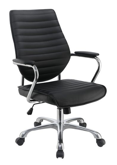 Office chair in black leatherette / chrome base