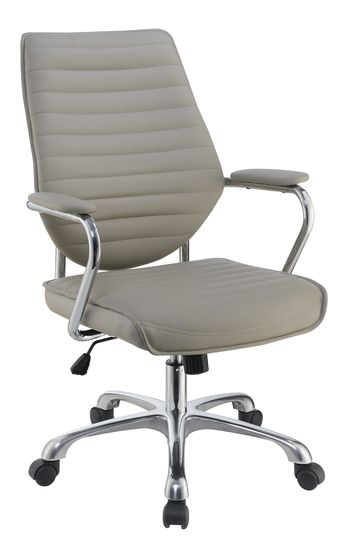 Office chair in gray leatherette / aluminum