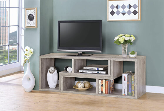 Contemporary gray driftwood convertible TV stand and bookcase