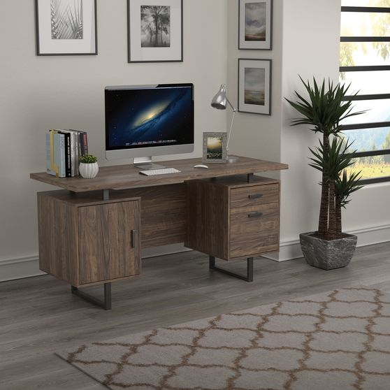 Office desk in weathered walnut