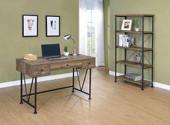 Rustic oak computer office desk