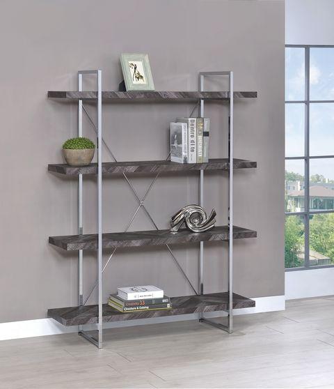 Contemporary rustic gray / metal bookcase