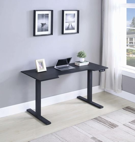 Power adjustable desk in black