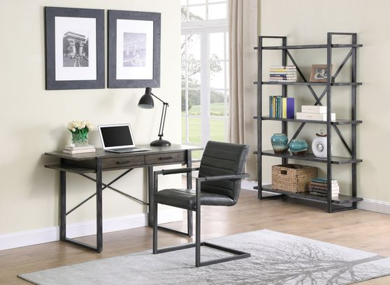 Writing desk in weathered elm / antique black