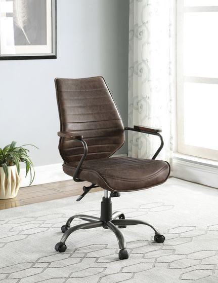 Office chair in antique brown top grain leather