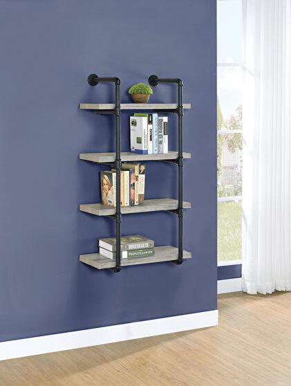 Gray driftwood finish wall shelf