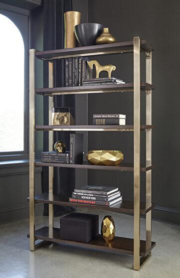 Heavy gauge steel frame electroplated in brass book shelf