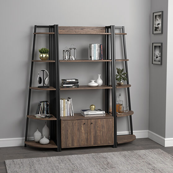 Metal frame finished in black bookcase