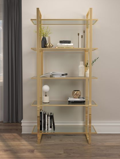 Contemporary gold / glass bookcase / display