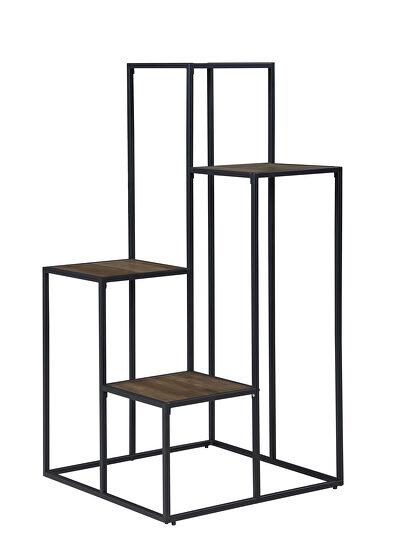 Rustic brown wood finish display shelf