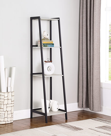 Industrial-style ladder bookcase