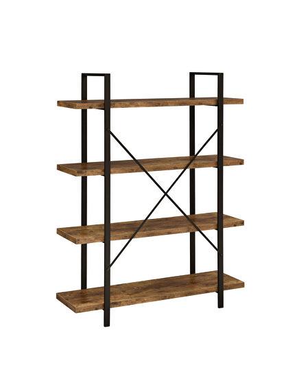 Antique nutmeg driftwood finish 4-shelf bookcase