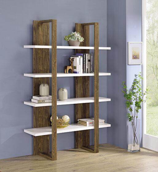 Aged walnut and white wood finish bookcase