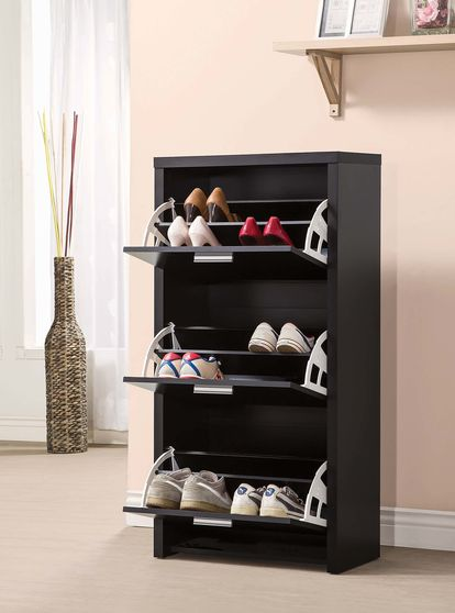 Transitional black shoe rack