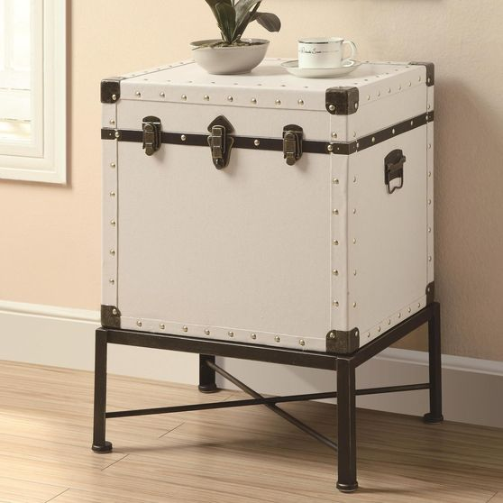 Trunk-style accent cabinet