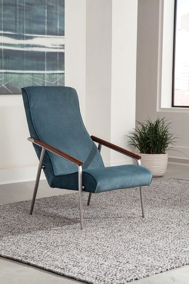 Retro style accent chair in teal fabric
