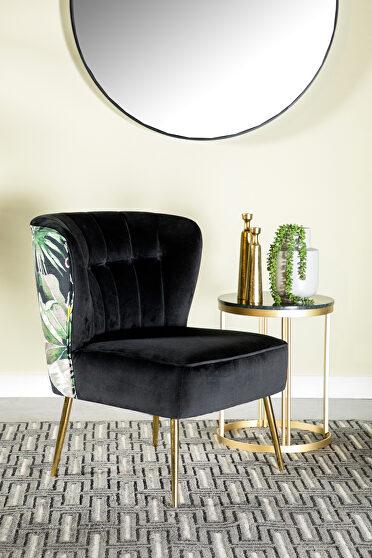 Soft black velvet accent chair