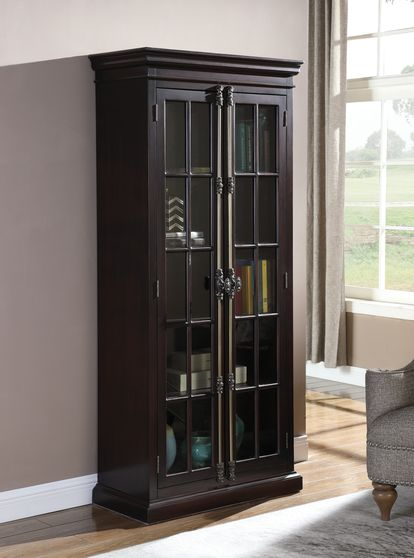 Tall cabinet in cappuccino / glass doors