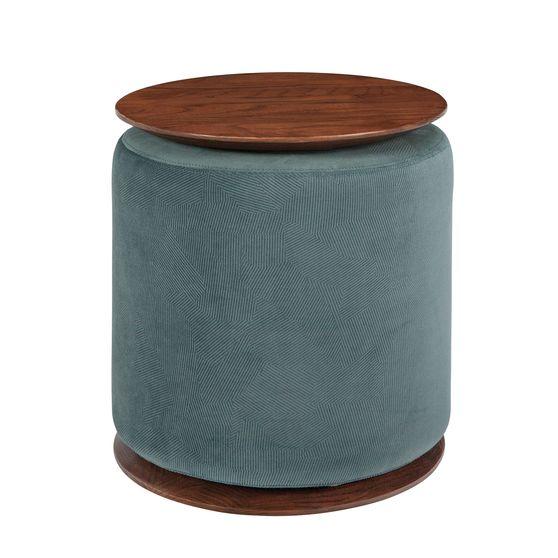 Teal / walnut accent table w/ ottoman