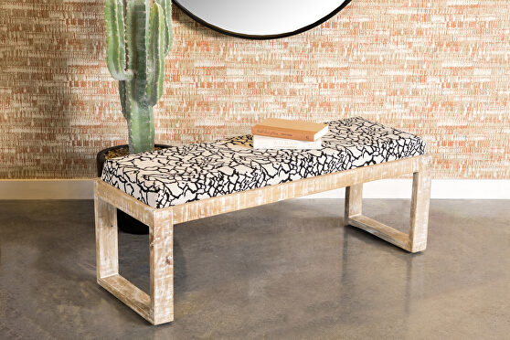 Unique accent bench crafted with solid wood in a white distressed look
