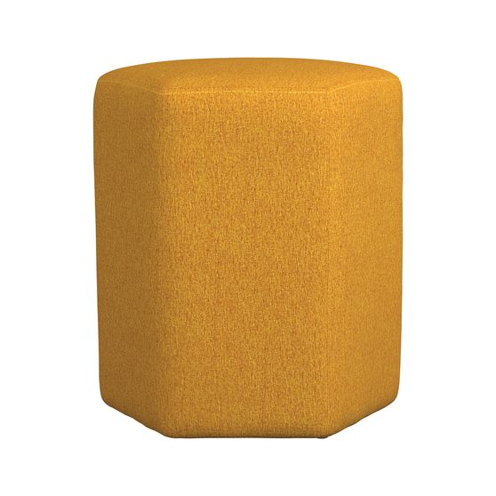 Hexagon shape yellow woven fabric stool / ottoman