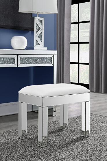 Mirrored leg base frame padded white leatherette seat vanity stool