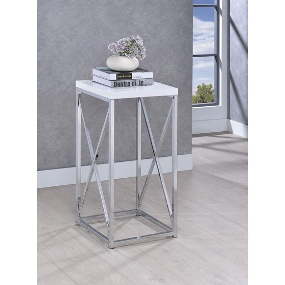 Glossy white / chrome accent table