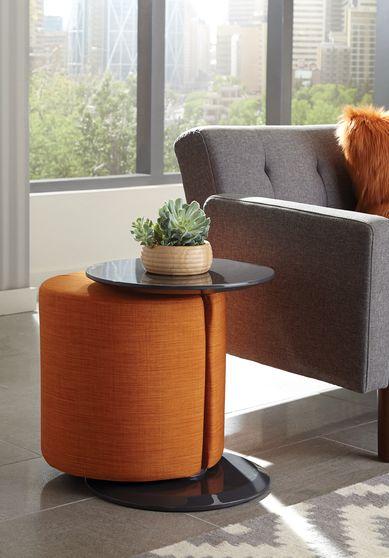 Orange / walnut accent table w/ ottoman