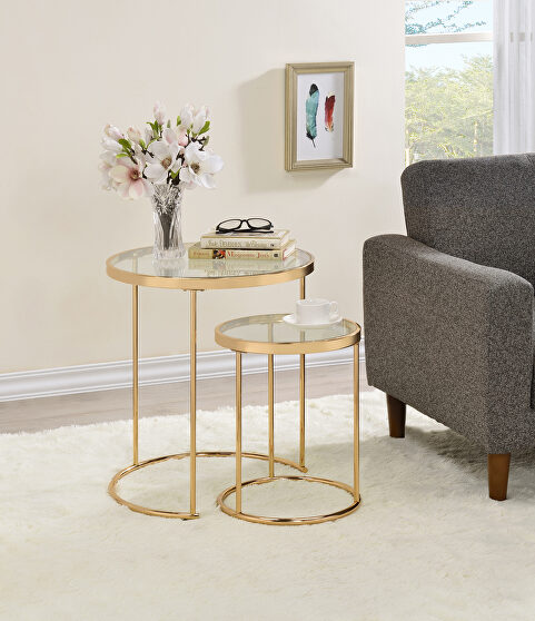 Steel and glass 2 pc nesting table
