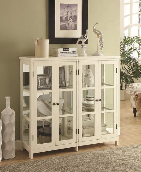 White glass doors cabinet