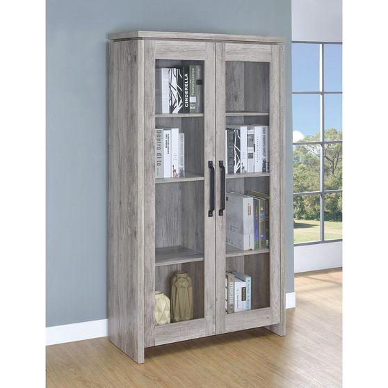 Distressed gray curio cabinet