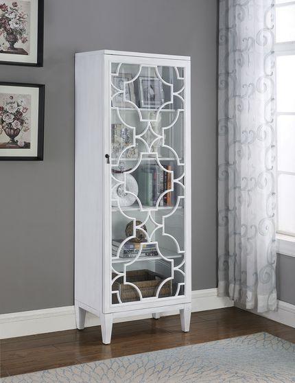 Rich white tall curio cabinet