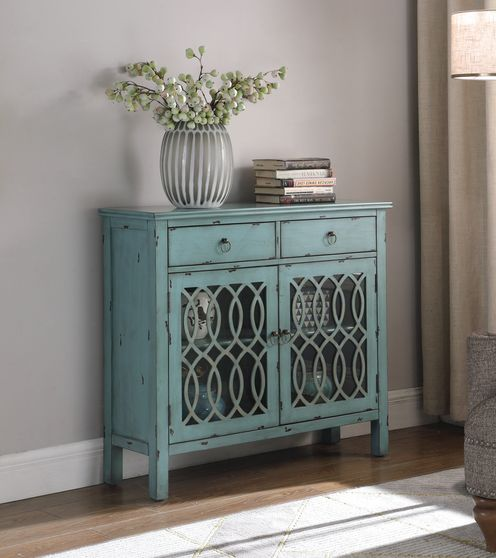 Accent cabinet in distressed blue