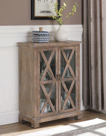 Antique brown 2 doors accent cabinet / display