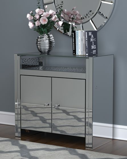Touch on/off lightning mirrored accent cabinet