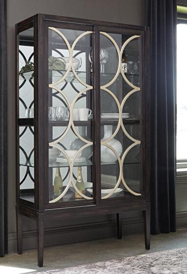 Black finish with decorative platinum finished details curio cabinet