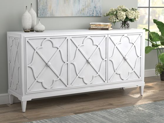 Stylish accent cabinet in antique white