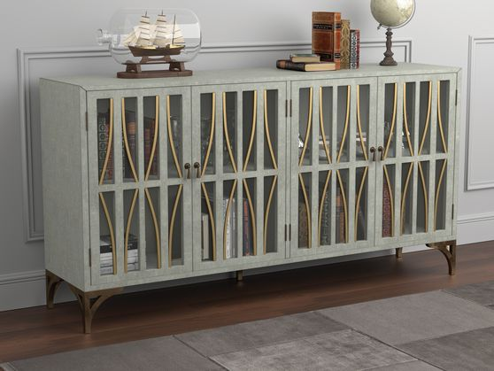 Accent cabinet in gray / green finish