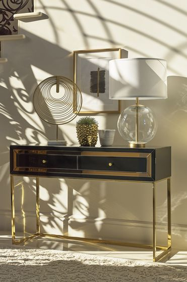 Glam style black / gold metal console table