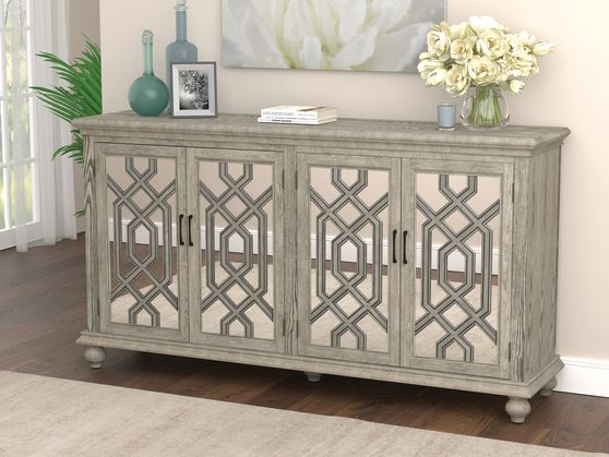 Accent cabinet in antique white / mirrored panels