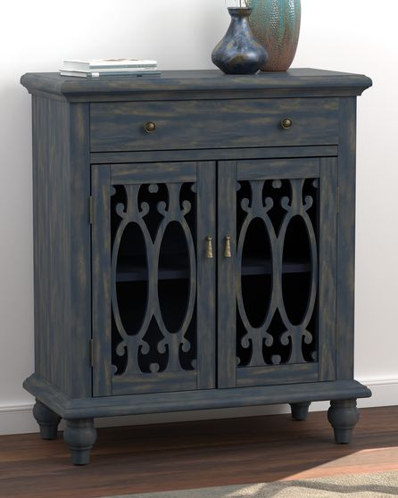 French style blue finish accent cabinet