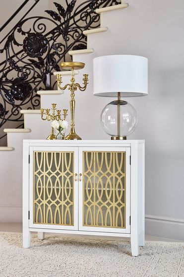 Contemporary glam gold/white accent cabinet