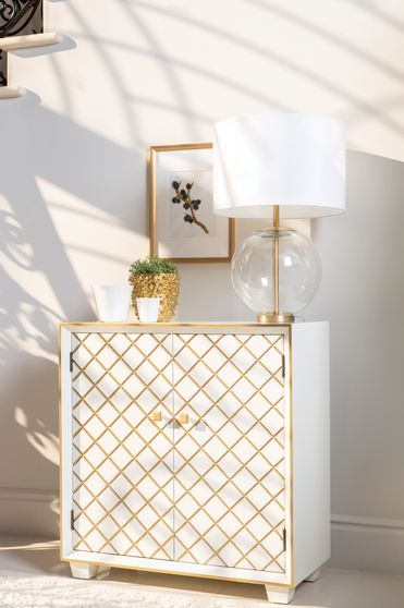 Gold plated lattice design glam style accent cabinet