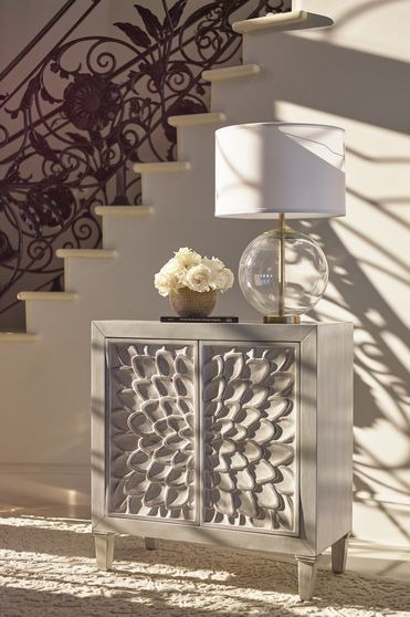 Accent cabinet w/ floral distressed white doors